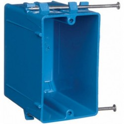 Blue Single Gang 22.5 CUIN New Work PVC Switch & Outlet Box With Captive Nails