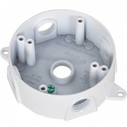 Master Electrician White Weatherproof Round Outlet Box