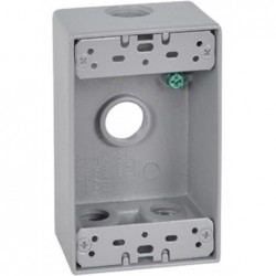 "Master Electrician Gray Weatherproof 1 Gang Rectangular Outlet Box Four 1/2"" Holes"