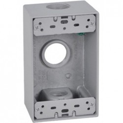"Master Electrician Gray Weatherproof 1 Gang Rectangular Outlet Box Three 3/4"" Holes"