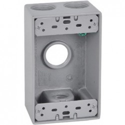 "Master Electrician Gray Weatherproof 1 Gang Rectangular Outlet Box Four 3/4"" Holes"