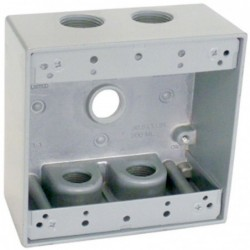 "Master Electrician Gray 2 Gang Outlet Box With Five 1/2"" Holes"