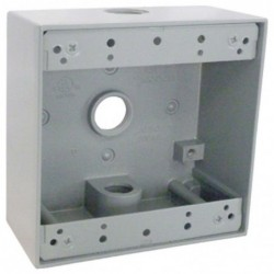 "Master Electrician Gray Weatherproof 2 Gang Outlet Box Three 1/2"" Holes"