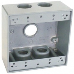 """Master Electrician Gray Weatherproof 2 Gang Outlet Box Five 3/4"""""""