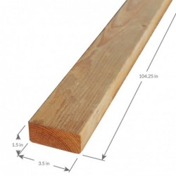 "2x4 104-1/4"" Douglas Fir Standard and Better Surfaced on Four Sides"