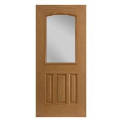 Belleville 3 Panel Camber Half Lite Fiberglass Exterior Door – Oak Texture