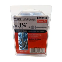 """100Pk Number 8 x 1-1/4"""" (1.25in) Strong Drive Wafer-Head Screw - SD8X1.25-R"""