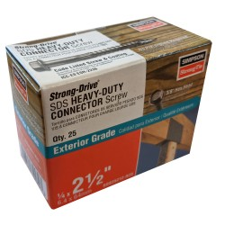 """25PK 1/4x2-1/2in (.25x2.5"""") SDS Heavy Duty Connector Strong-Drive Screw"""