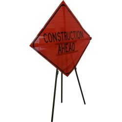 "Construction Ahead"" sign"